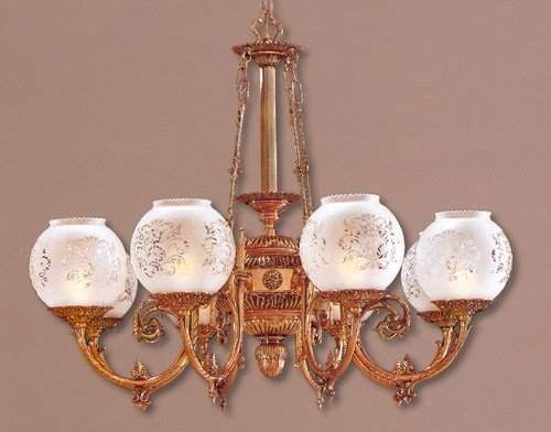 Metropolitan N801908, Metropolitan Glass 1 Tier Chandelier Lighting, 8 Light, 480 Total Watts, Brass