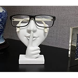 "Artsy Face Eyeglass Holder Stand - Sculpted Nose for Eyeglasses or Sunglasses, ""Keep a Secret"", White"