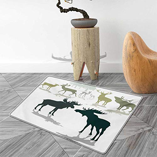 Elk Elliptical - Antlers Bath Mats for Bathroom Elk Deer and Fawn Silhouette Forest at The Background World Natural Habitat Theme Door Mats for Inside Non Slip Backing 3'x5' Green Black