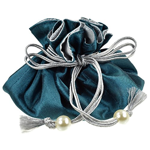 TropicaZona Drawstring Jewelry Pouch, Poly Dupioni Silk, Teal + Silver