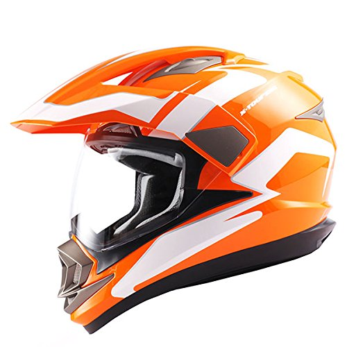 Dual Sport Helmet Motorcycle Full Face Motocross Off Road Bike Racing Orange White by 1Storm (Image #1)