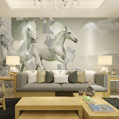 XGHC Large 3D Stereo Large Wall Paintings Wallpaper / Wallpaper / Living Room TV Background Wall White Horse XL XXL XXXL , xl
