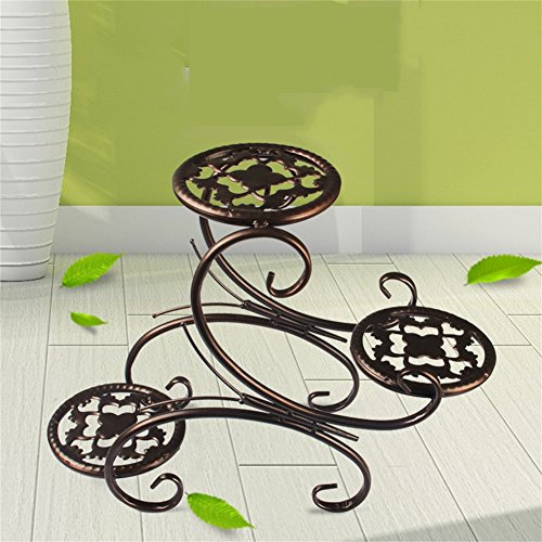 Plant Wrought Iron Flower Stand Mini Meat Desktop Flower Shelf Desk Sill TV Cabinet Bay Window Coffee Table Potted Small Ornaments Accessories (Color : Brown)