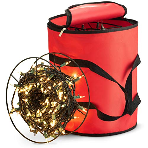 ZOBER Premium Christmas Light Storage Bag - with 3 Metal Reels to Store A Lot of Holiday Christmas Lights Bulbs, Tear Proof 600D Oxford Fabric, Reinforced Stitched Handles - 5 Year Warranty