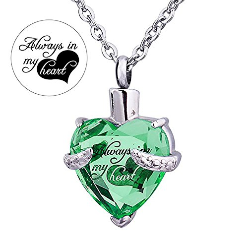 Always in My Heart 12 Birthstone Crystal Urn Necklace Heart Memorial Keepsake Pendant Ash Holder Cremation Jewelry for Ashes (Aug.) ()