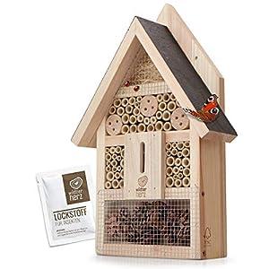 wildtier herz Hôtel à Insecte en Bois – Imperméable et Résistant aux Intempéries, Maison Insectes, Hotel a Insectes a…