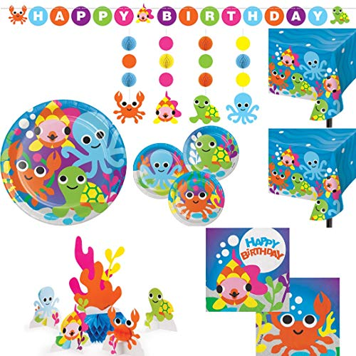 Ocean Theme Birthday Party Supplies, Deluxe Kit Serves 20: Dinner Plates, Cake Plates, Napkins, 2 Table Covers, Centerpiece Set, Hanging Cutouts, Banner Decoration, Wildflower Party Planner
