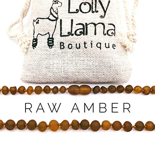 Cognac Baltic Amber Necklace - Raw Amber Teething Necklace for Babies (Unisex) Teething Pain Relief - Certified Genuine Baby Baltic Amber Necklace (13 Inches, Cognac)