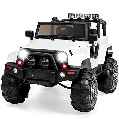 Best Choice Products 12V Kids Ride-On Truck Car w/ Remote Control, 3 Speeds, Spring Suspension, LED Lights, AUX - White