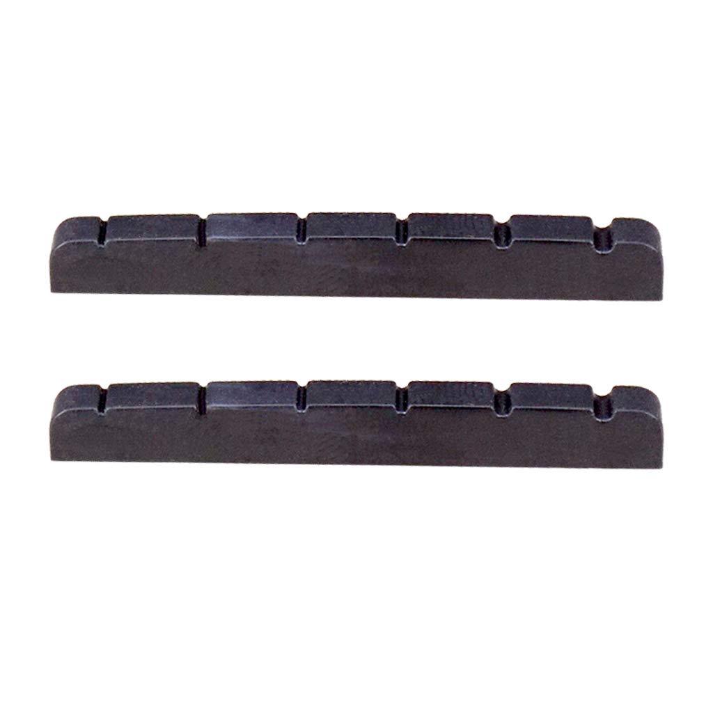 B Blesiya 2pcs 6 String Guitar Nut Slotted for Stratocaster Strat Telecaster Tele Guitar Parts - Black