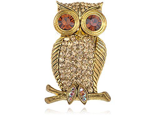 Alilang Golden Tone Smoked Topaz Crystal Rhinestone Eyed Hooting Tree Owl Bird Brooch Pin -