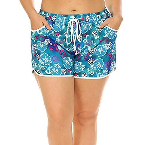 - 513jlkM58sL - IN'VOLAND Women's Plus Size Floral Print Beach Shorts with Pockets-Quick Dry Summer Swimmwear Shorts