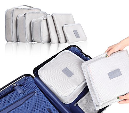 Luggage Clothes Bags, 6 PCS Luggage Packing Organizers For Travel Packing Mesh Storage Bags With Laundry Bag and Shoes Bag, Grey from Mooloo