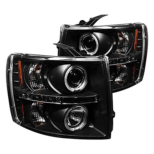 Passenger Side Projector (Make Auto Parts Manufacturing - LED Halo Projector Headlights Lamps For Chevy Silverado Truck 2007-2013 Black - Driver And Passenger Side GM2502280-GM2503280)