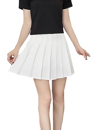 a32d7532fb Falda Plisada Mujer Color Sólido Cintura Alta Una Línea Uniformes Joven  Bastante Faldas Verano Moda Informal Elegantes Minifalda Women  Amazon.es   Ropa y ...