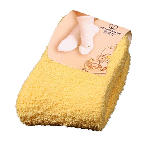 Charberry Clearance Womens Candy-Colored Coral Velvet Socks Floor Fluffy Warm Winter Pure Color Socks (Yellow)