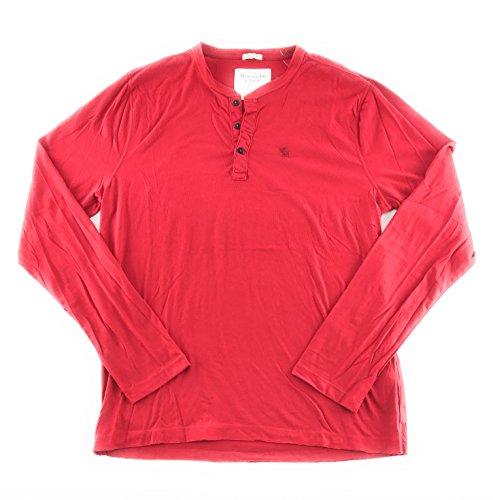 Abercrombie & Fitch Mens Long Sleeve T-Shirt Red Henley 0264 Large