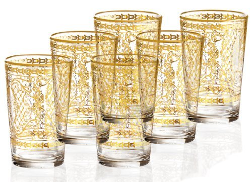Rose's Glassware 14K Gold Decorative 6 Ounce Italian Glassware Set - Set of 6 by Rose's Glassware