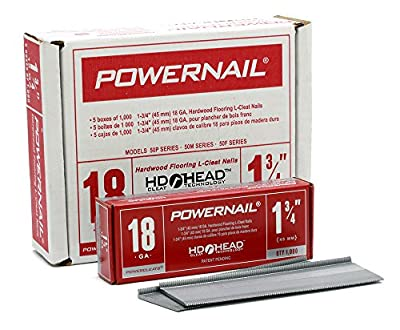 "Powernail 18ga 1-3/4"" HD L Cleat Flooring Nail (1 Case of 5-1000ct Boxes)"