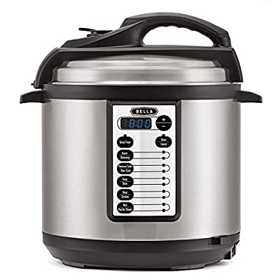 BELLA 6 Qt 10-In-1 Multi-Use Programmable Pressure Cooker, Slow Cooker, Rice Cooker, Steamer, Saute, Warmer with Searing and Browning Feature, 1000 Watt