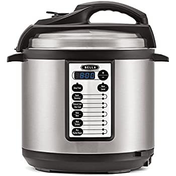 BELLA BLA14467 M-60B23G (14467) 10-In-1 Multi-Use Programmable 6 Quart Pressure, Slow, Rice Cooker, Steamer, Sauté Warmer with Searing & Browning Feature, Silver