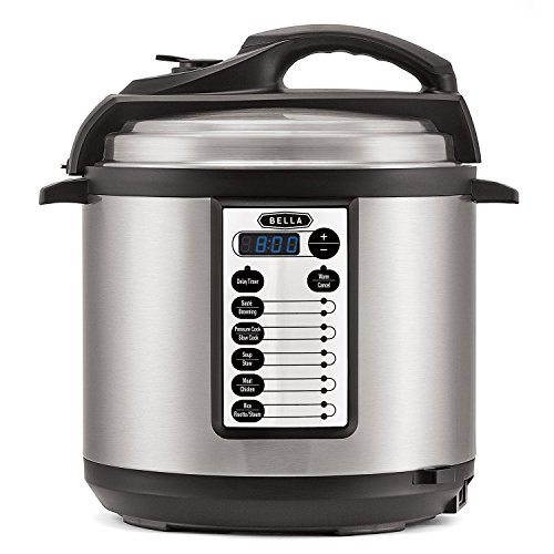 BELLA (14467) 10-In-1 Multi-Use Programmable 6 Quart Pressure Cooker, Slow Cooker, Rice Cooker,...