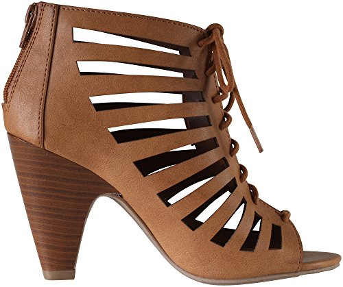Richelle Pumps Heels Lace Delicious Tan Chunky Up Strappy Women's qw7YY0x1