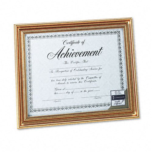 DAX : Antique Colored Document Frame with Certificate, Metal, 8-1/2 x 11, Gold -:- Sold as 2 Packs of - 1 - / - Total of 2 Each