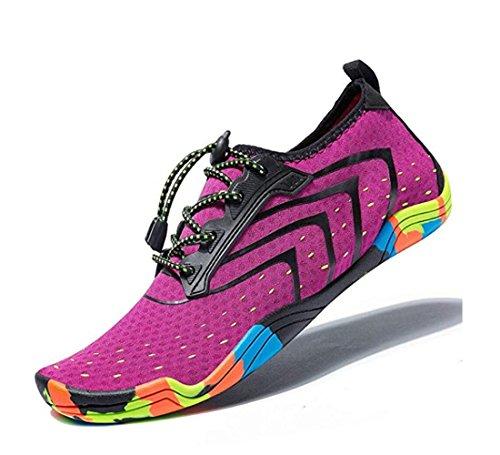 MEET Women Men Unisex Lightweight Water Shoes Quick-Dry Barefoot Flexible Beach Swim Shoes (Size 45=US Men 12, Purple) by MEET