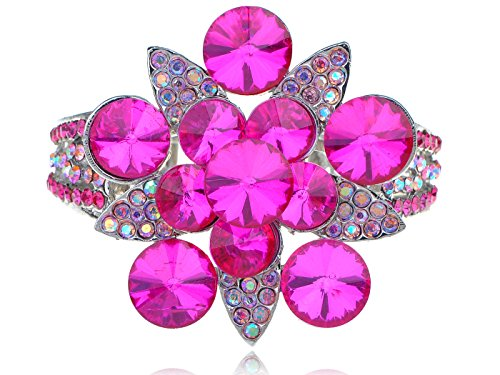 Alilang Aurora Borealis Synthetic Fuchsia Pink Crystal Rhinestone Flower Fashion Bangle Bracelet Cuff