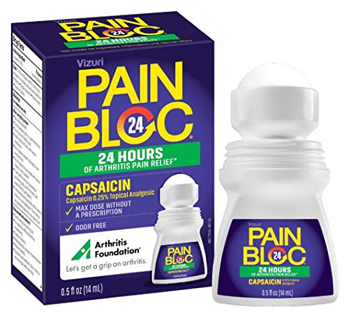 PainBloc24 Arthritis Pain Relief. Long Lasting Pain Relief Topical Medication for Knee, Back, Neck, Elbows, Hip, Joint, Muscle Pain. Roll-On Pain Relief Maximum Strength OTC Capsaicin 0.25% 0.5Fl Oz