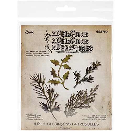 Sizzix 658759 Holiday Greens Thinlits Dies by Tim Holtz, 4-Pack by Sizzix