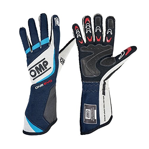 OMP Unisex-Adult ONE EVO GLOVES (Navy blue/white/cyan, XL) by OMP