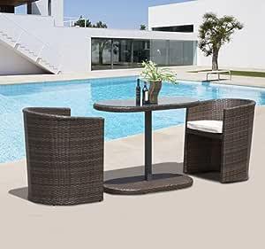 Outsunny Conjunto 1 Mesa de Desayuno y 2 Sillas de Ratan Mueble de Mimbre Jardin Terraza: Amazon.es: Hogar
