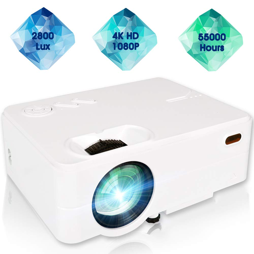 Movie Projector, Mini Projector Full HD 1080P Portable 2,800 Lux LCD Projector Multimedia Home Theater Office Business Outdoor Video Projector for Cinema TV Laptop Game with TV Stick HDMI USB VGA AV