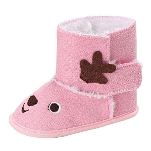 YiJee Baby Mädchen Niedlich Elch Schuhe Herbst und Winter Modisch Kinderschuhe mit Weiche Sohlen Pink