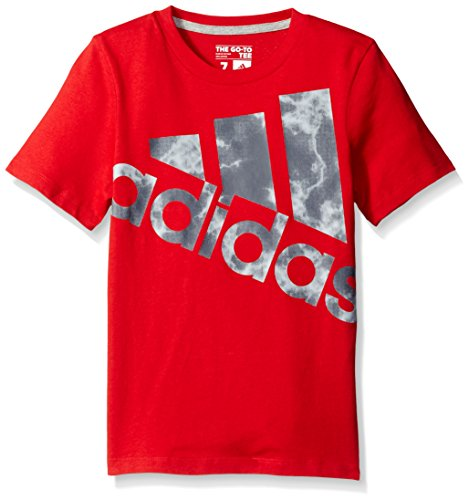 adidas Big Boys' Short Sleeve Graphic Tee Shirt, Red, M