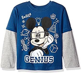 Disney Little Boys' Toddler Mickey Mouse Genius Long Sleeve Two-Fer T-Shirt, Navy/Grey, 5T