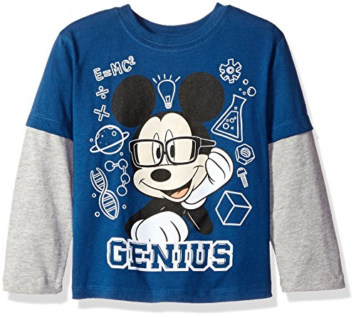 (Disney Boys' Toddler Boys' Mickey Mouse Genius Long Sleeve Two-Fer T-Shirt, Navy/Grey, 4T )