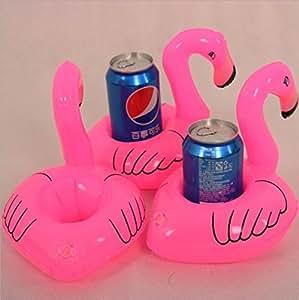 kotiger Cute Tropical flamenco posavasos flotante para parte bebida asiento inflable juguetes (rosa) 4 pcs