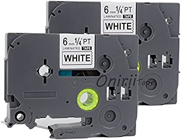 "2 PK TZ 211 TZe211 Black on White Label Tape For Brother P-touch PT1280 1//4/"" 6mm"