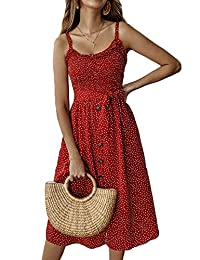 YAMTHR Womens Summer Floral Strap Button Down Swing A Line Midi Dress with Pockets