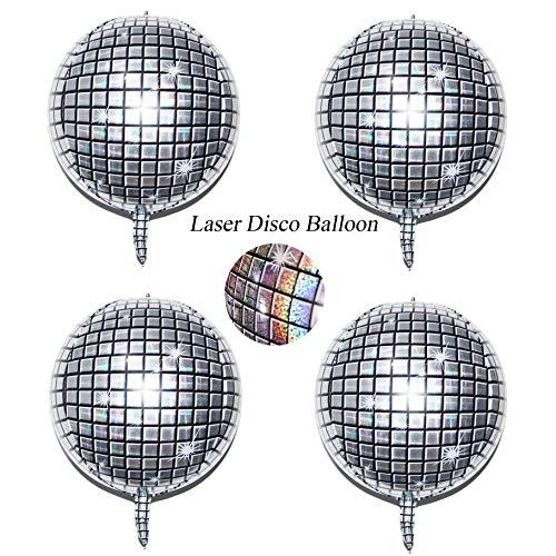 Holographic Silver Laser Disco Ball Balloon Hangable 4 Count 22