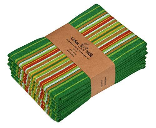 (Urban Villa Kitchen Towels, Premium Quality, 100% Cotton Dish Towels,Mitered Corners,Ultra Soft (Size: 20X30 Inch), Leaf Green Waffle Stripes, Highly Absorbent Bar Towels & Tea Towels - (Set of 6))