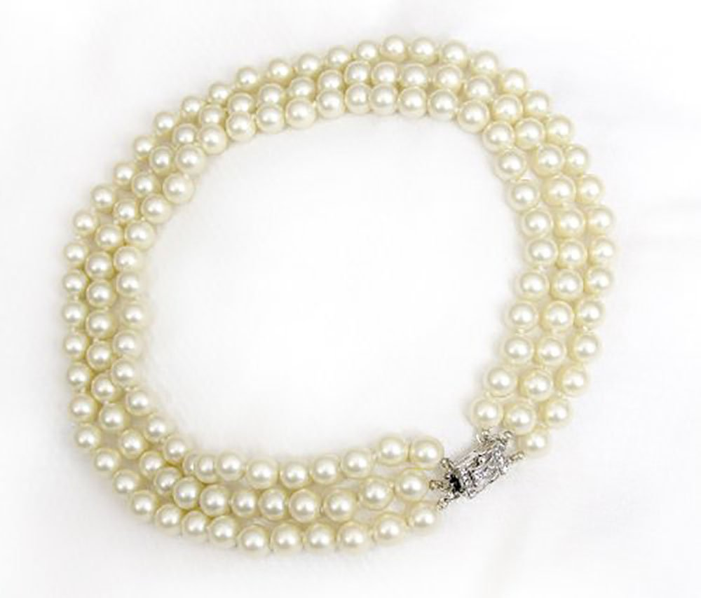 Simulated Pearl Necklace Rhinestone Faux Diamond Clasp Kenneth Lane Jewelry 3 Rows 10mm Pearls Jackie Kennedy Repro by Kenneth Jay Lane