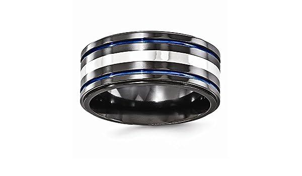 Bridal Wedding Bands Decorative Bands Edward Mirell Titanium Black Ti Flat Top Beveled Edge 8mm Band Size 12.5