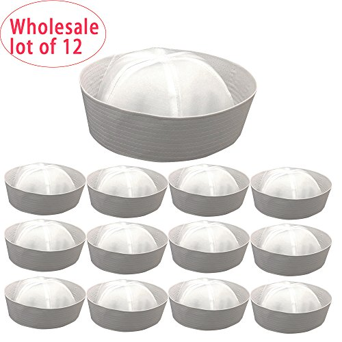 """Price comparison product image 12 Pieces In Lot ,Wholesale 12 Pcs White Sailor Hats ,23.6"""" / 60cm Head Circumference for Unisex , A Dozen Marine Naut Caps, Perfect for Navy / Doughboy /Gob Theme Birthday Party"""