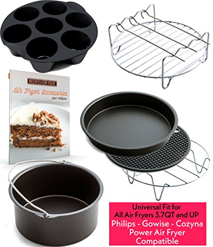Air Fryer Accessories for Gowise Phillips and Cozyna, Deluxe Set of 7, Fit all 3.7QT
