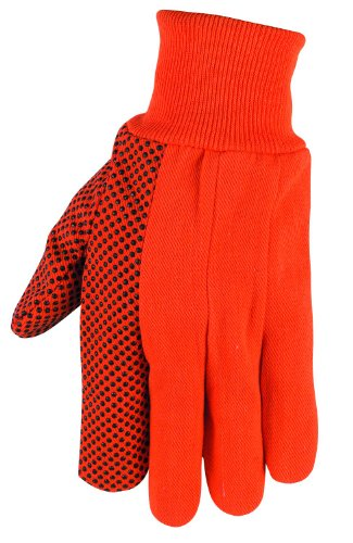 Mens Pvc Dotted Canvas - MCR Safety 8808O High Visibility PVC Dotted Canvas Standard Weight Knit Wrist Men?s Gloves with Straight Thumb, Orange, Large, 1-Pair