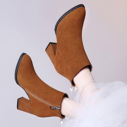 Botas Mujer Europeo Americano Nieve Botas Gruesas Botas Brown AJUNR El High Zapatos Terciopelo Con Mujer Salvaje Heeled Redonda Heeled De De Cabeza Moda De Zapatos High De 36 Y De 39 qEEOBw